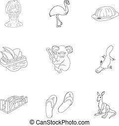 set, stijl, australië, schets, iconen