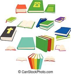 set, stijl, boek, spotprent, iconen
