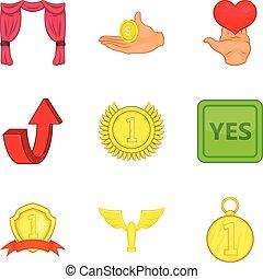 set, stijl, bounty, spotprent, iconen