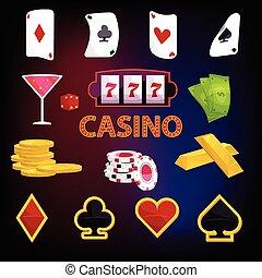 set, stijl, casino, spotprent, iconen