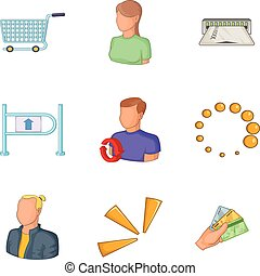 set, stijl, collector, spotprent, iconen