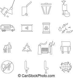 set, stijl, ecologie, schets, iconen