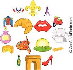 set, stijl, frankrijk, spotprent, iconen