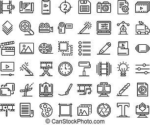 set, stijl, iconen, schets, redacteur