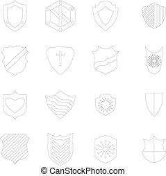 set, stijl, iconen, schets, schild