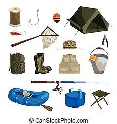 set, stijl, iconen, spotprent, visserij