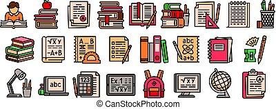 set, stijl, schets, huiswerk, iconen