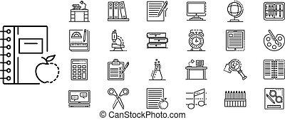 set, stijl, schets, huiswerk, pictogram