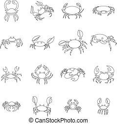 set, stijl, schets, krab, iconen