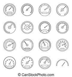 set, stijl, snelheidsmeter, schets, iconen
