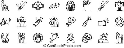set, stijl, violence, schets, iconen