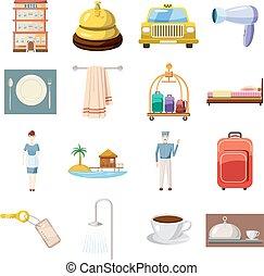 set, stile, albergo, cartone animato, icone