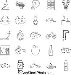 set, stile, benessere, contorno, icone
