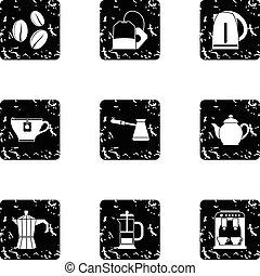 set, stile, bevanda, grunge, icone