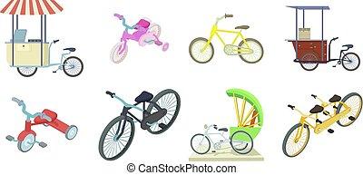 set, stile, bicicletta, cartone animato, icona