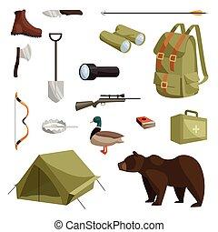 set, stile, cartone animato, caccia, icone