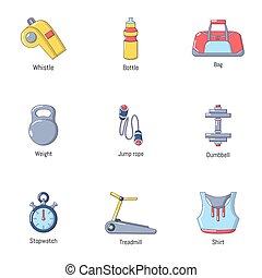 set, stile, cartone animato, esercizio, icone