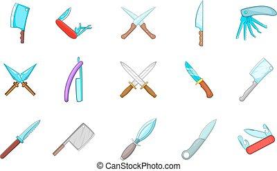 set, stile, cartone animato, icona coltello