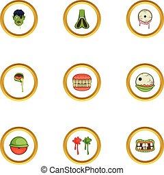 set, stile, cartone animato, icone