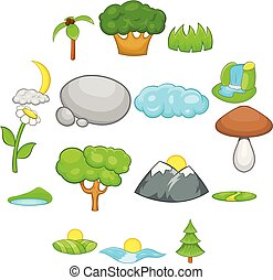 set, stile, cartone animato, paesaggio, icone