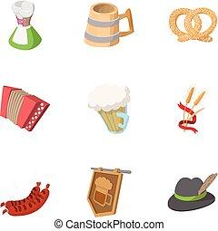 set, stile, cartone animato, pub, icone