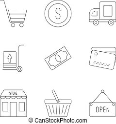 set, stile, contorno, negozio, icone