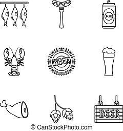 set, stile, contorno, pub, icone