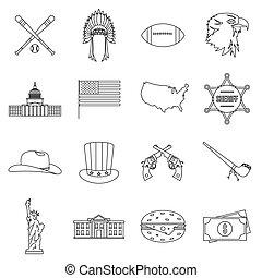 set, stile, contorno, stati uniti, icone