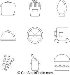 set, stile, cottura, contorno, icone