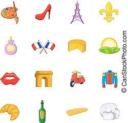 set, stile, francia, cartone animato, icone
