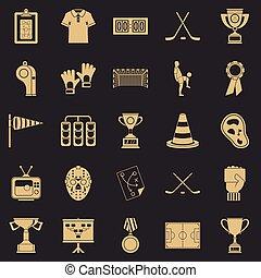 set, stile, generosità, cartone animato, icone