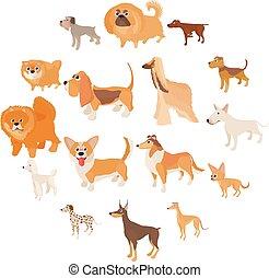 set, stile, icone, cartone animato, cane