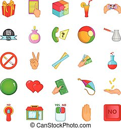 set, stile, icone, cartone animato, feedback