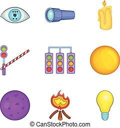 set, stile, icone, cartone animato, illuminarsi