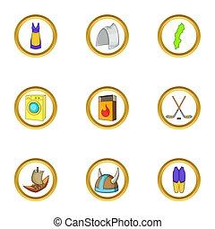 set, stile, icone, cartone animato, stoccolma