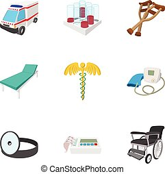 set, stile, icone, cartone animato, trattamento