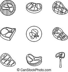 set, stile, icone, contorno, carne