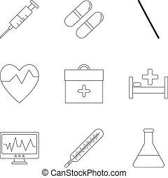 set, stile, icone, contorno, guarigione