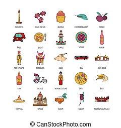 set, stile, indonesia, cartone animato, icone
