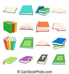 set, stile, libro, cartone animato, icone