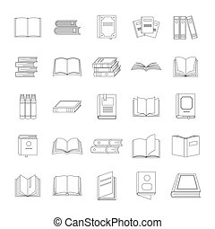 set, stile, libro, contorno, icone