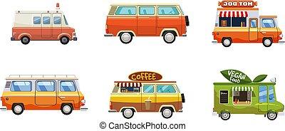 set, stile, minivan, cartone animato, icona