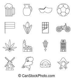 set, stile, paesi bassi, contorno, icone