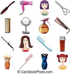 set, stile, parrucchiere, cartone animato, icone