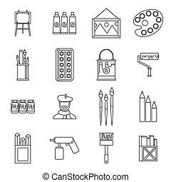 set, stile, pittura, contorno, icone