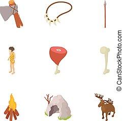 set, stile, preistoria, cartone animato, icone