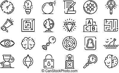 set, stile, ricerca, contorno, icone