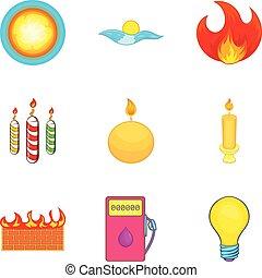 set, stile, riflettore, cartone animato, icone