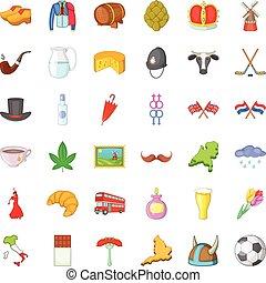 set, stile, viaggio, cartone animato, icone