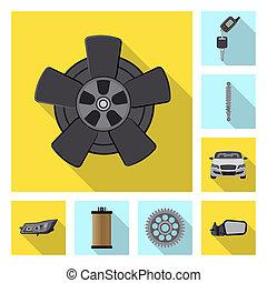 set, stock., auto, bitmap, deel, ontwerp, auto, icon.,...